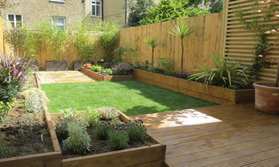 Raised Flowerbeds and Deck Designed by Gardenia Gardens of Dulwich